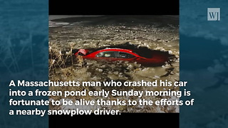 Man Has Only Minutes to Live When Car Starts Sinking into Frozen Pond... Plow Driver to the Rescue! - Video