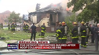 5 Detroit firefighters injured after house collapses during fire