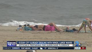 Hurricane Florence: Ocean City dealing with heavy winds, large waves - Video