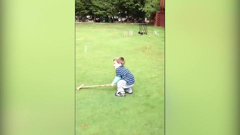 Funny Tot Boy Cries To Play Croquet