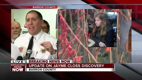 JAYME CLOSS: First full news conference following the discovery of the Barron, Wisconsin missing teen