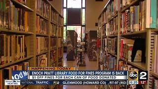 Donate food and lower your library fines at Enoch Pratt Library