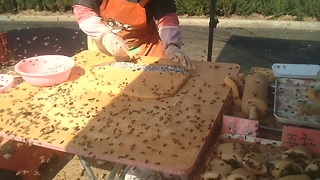 Bees Swarm Calm Street Vendor In China - Video