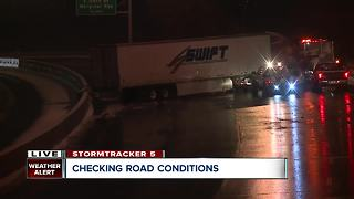 Jackknifed semi closes portion of 90 W