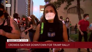 Crowds gather downtown for Trump rally
