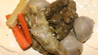 Stuffed cabbage and grape leaves recipe