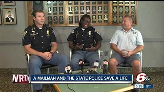 Mailman, Indiana State Police trooper save man's life - Video