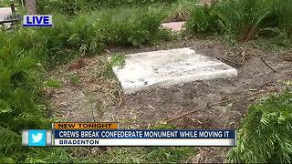 Confederate monument cracks during removal - Video