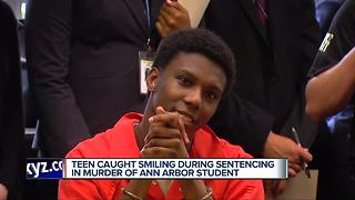 Teen caught smiling during sentencing in murder of Ann Arbor student - Video