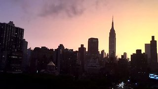 Timelapse Shows Beautiful Sunset Over Manhattan After Stormy Weather - Video