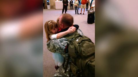 Kids Greet Dad Returning From Military Duty