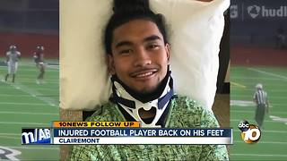 Injured football player back on his feet - Video