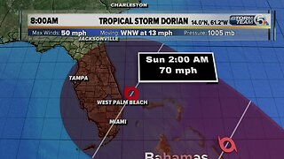 8 a.m. Tuesday tropical update: Dorian's winds remain at 50 mph