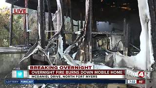 Mysterious fire destroys North Fort Myers mobile home overnight - Video