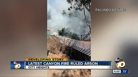 Fire investigators rule City Heights canyon blaze arson