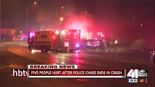5 hurt in head-on crash after police pursuit in KCMO - Video