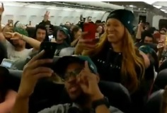 Flight Full of Eagles Fans Celebrate Ahead of Super Bowl Rematch Versus Patriots