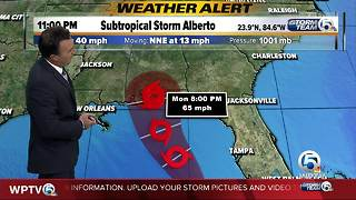 Subtropical Storm Alberto: Heavy rainfall continues to spread northward over Florida
