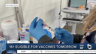 16 and older eligible for COVID-19 vaccine Thursday