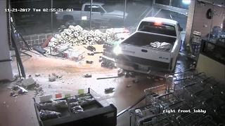 WATCH | Truck plows through grocery store twice, suspects steal ATM - Video
