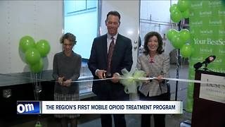 Ribbon cutting for new mobile opioid addiction treatment - Video