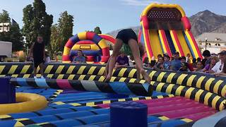 Young Girl's Bouncy House Obstacle Course Fail - Video