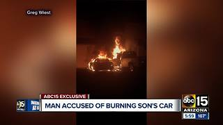 Man accused of burning son's car over missing payments - Video