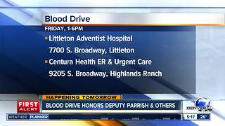 Centura Health blood drive honors fallen deputy Zachary Parrish and first responders
