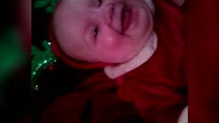 """""""Adorable Baby in Christmas Antlers Laughing"""""""