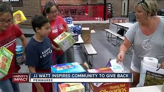 J.J. Watt asks Wisconsin community to collect items for Harvey flood victims - Video