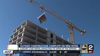 Outside construction complete on new hotel - Video