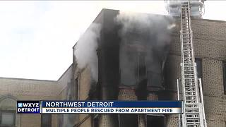 Crews save people from apartment fire in Northwest Detroit - Video