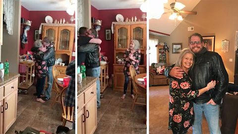 Heartwarming moment a mum is reunited with her biological son, a staggering 44-years after he was giving him up for adoption