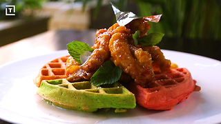 These Chicken & Waffles Come With a Colorful Indian Twist - Video