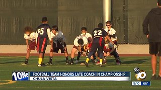 Football team honors late coach in championship
