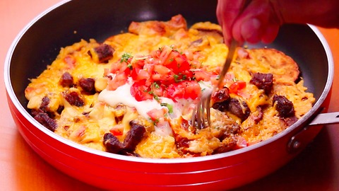 You haven't had nachos until you've tried them with potatoes and steak