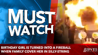 Birthday girl is turned into a FIREBALL when family cover her in silly-string - Video