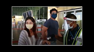 Shehnaaz Gill and Sidharth Shukla Spotted at Mumbai Airport as they leave for Chandigarh   SpotboyE
