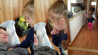 Hilarious moment toddler doesn't recognise own dad as she sees him clean shaven for the first time - Video