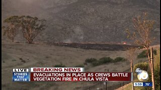 Brush fire breaks out near Chula Vista homes