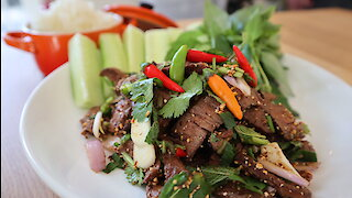How to make Thai spicy beef salad (Nam Tok Nua)