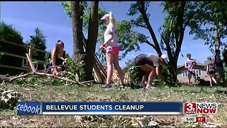 Bellevue students help with cleanup - Video