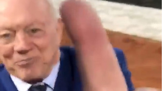Raiders Fan Flips Jerry Jones the Finger Right to His Face! - Video