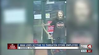 Man Uses Scythe to Threaten Store Employee - Video
