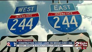 Construction closes lanes on I244