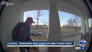 Porch pirate caught on camera stealing Colorado family's Thanksgiving groceries - Video