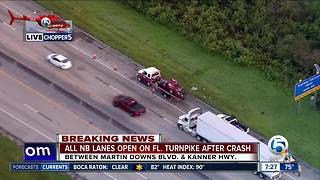 All lanes back open after semi crash on Florida's Turnpike in Martin County - Video