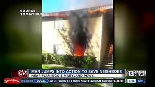 Man saves neighbors from burning apartment building - Video