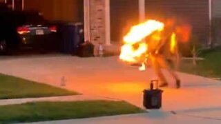 Fire-eater puts on hot show for neighbors