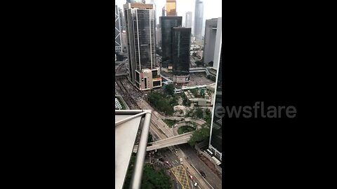 Time-lapse footage shows demonstrators gathering in Hong Kong on second day of protests